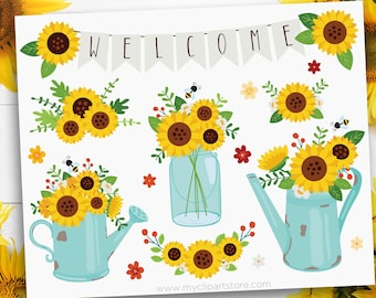 Sunflowers Clipart, Teal Mason Jar SVG, Rusty Flower Container SVG, Rustic Farmhouse Clip Art, Digital Download