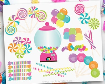 Candyland Clipart, Sweet Shop Clip Art, Candy SVG, candy cane SVG, Printable Birthday Party, Digital Download, Sublimation SVG Clip Art
