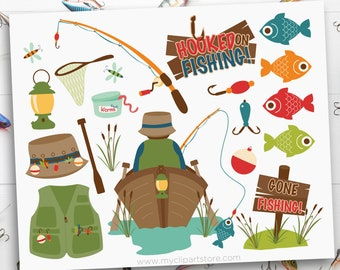 Fishing Clipart, Father's day, fishing tackle, Dad, camping, boat, fishing rod, fisherman, Sublimation SVG Clip Art