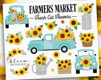 Sunflower Truck Clipart, Retro Truck with Sunflowers, Farmhouse Clip Art, Mint Blue, Digital Download