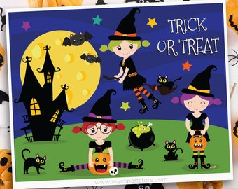 Halloween Witches Clipart, witch's broom, full moon, candy, black cat, cauldron, trick or treat, Sublimation SVG Clip Art