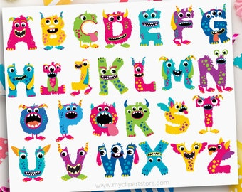 Cute Monster Alphabet Clipart, Girl Monsters, Birthday, ABC, Letters, Alpha, Monograms, Bright, Commercial Use, Vector Clipart, HTV, png
