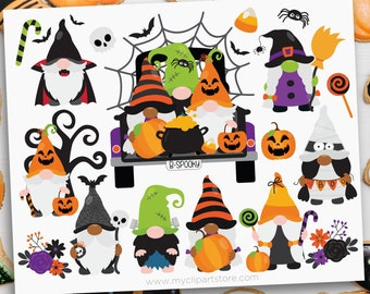 Halloween Clipart, Gnome png, Gnomes SVG, Witch clipart, Ghost SVG (Digital Download)