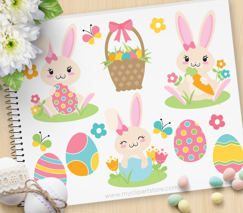 Easter Bunny Clipart Girl bunny Pink Spring Flowers Easter image 0