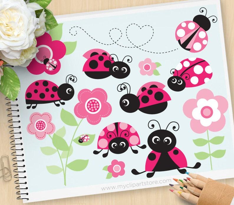 Superieur Pink Ladybug Garden Clipart, Ladybird Clip Art, Garden Clipart, Gardening,  Personal And Commercial Use Vector Clip Art, SVG Files