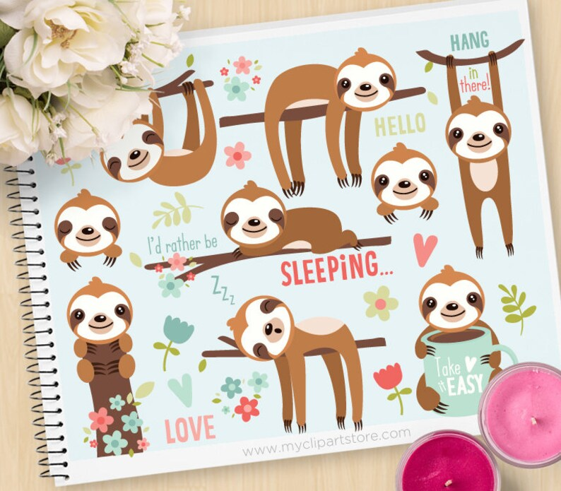 Cute Sloths Clipart Sleeping sloth tree branch spring image 0
