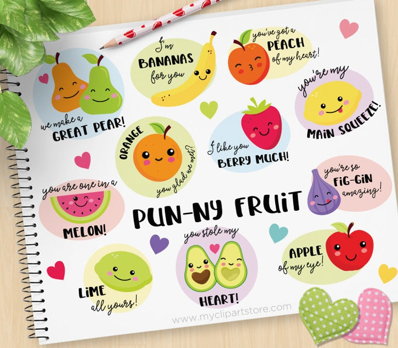 Punny Fruit Funny Fruit Puns Cute Fruit faces Characters image 0