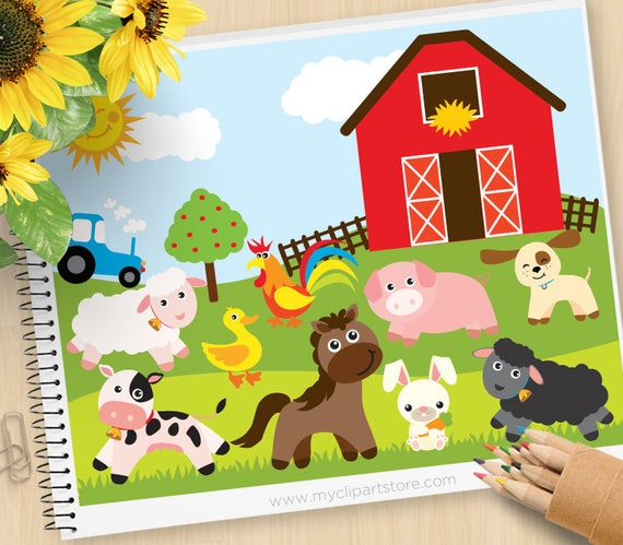 Farm Animals Red Barn Tractor Sheep Pig Rooster Puppy