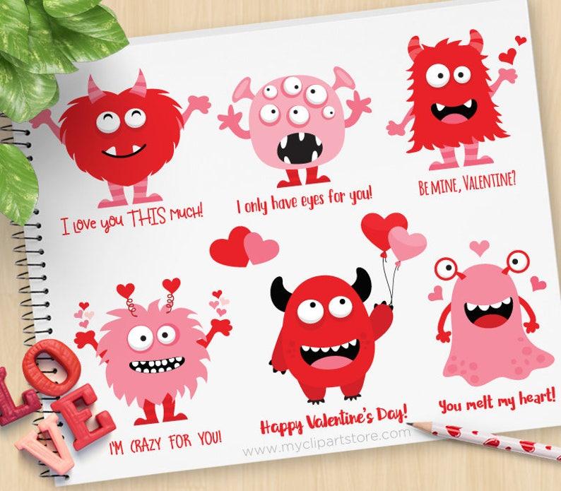 Valentine Monster Clipart Love monsters Valentine's Day image 0