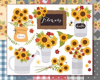 Cottage Sunflowers Mini Bundle, Farmhouse Kitchen, Fall, Autumn, Buffalo Check, Table Cloth, Vector Clipart, Digital Paper, Commercial Use
