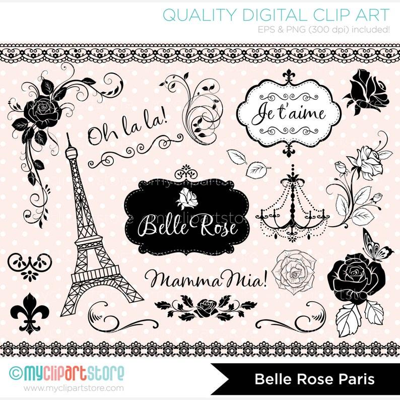 Digital Stamps  Belle Rose Paris /French Flourish Roses  image 0