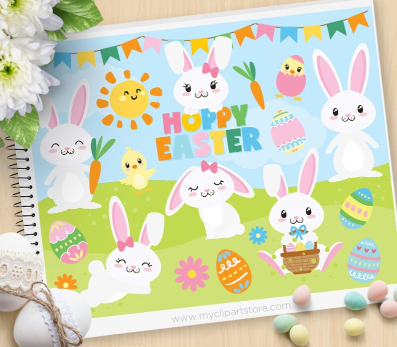 Easter Bunny Hoppy Easter Happy Easter Clipart white bunny image 0