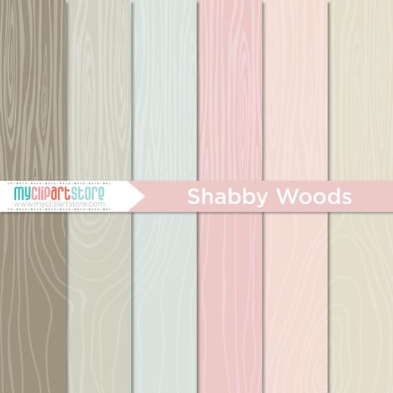 Digital Paper Hand Drawn Shabby Woods Vintage Woodgrain