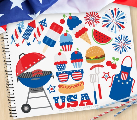 Independence Day BBQ 4th Of July Clipart Picnic USA