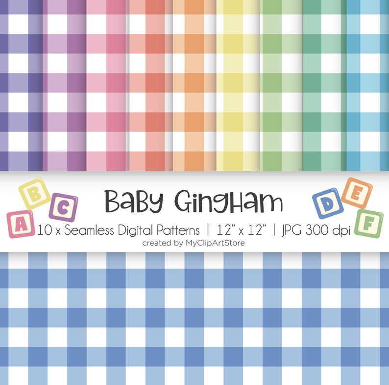 Baby Gingham Seamless Patterns Check Print Rainbow Colors image 0