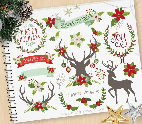 Christmas Elements (2), Reindeer Silhouette, Antlers, Poinsettia Flowers,  Floral Wreaths, Holly, Commercial Use, Vector clip art, SVG Files