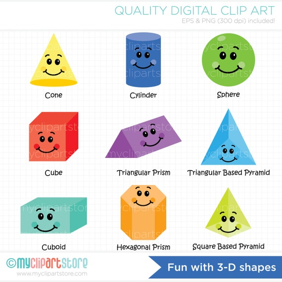 Items similar to Clipart - Fun With 3D Shapes ...
