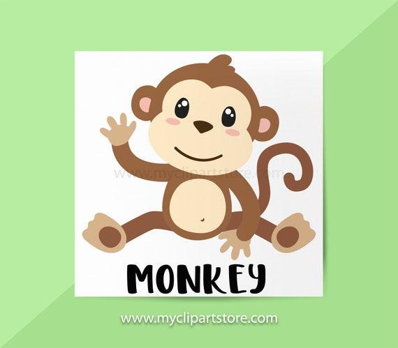 Monkey Clipart Single Monkeys Jungle Animals Wildlife Etsy