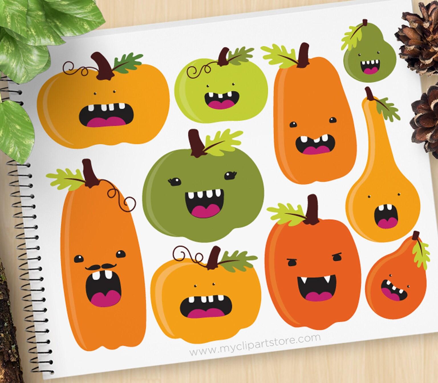 Funny Pumpkins Clipart Fall Autumn Jack O Lanterns Etsy