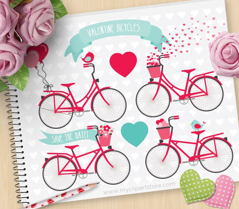 Valentine's Day Bicycles Wedding bikes clipart Balloons image 0