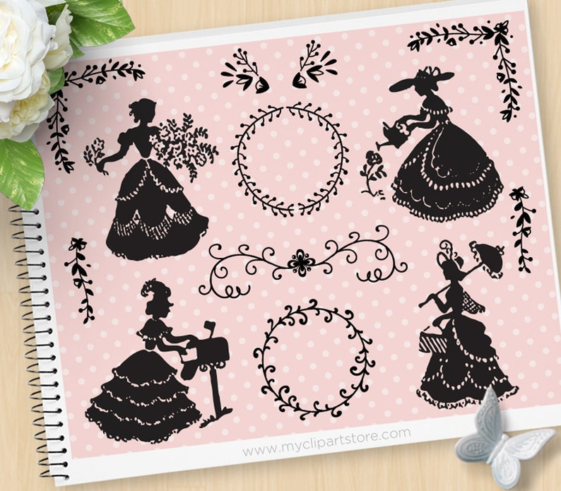 Victorian Ladies Silhouette Stamps Clipart Vintage Fashion image 0