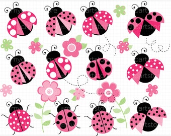 Clipart - Pretty Pink Ladybugs - Digital Clip Art (Instant Download)