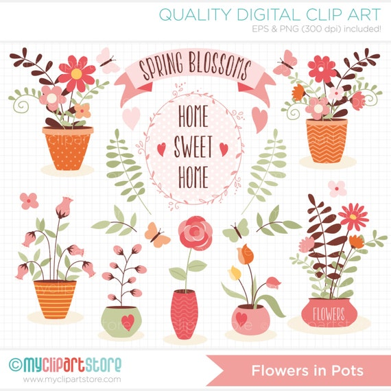 Clipart Home Sweet Home Mothers Day Flower Pots Vases