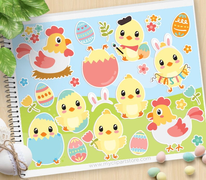 Easter Chicks Clipart Happy Easter Chickens Hen Rooster image 0