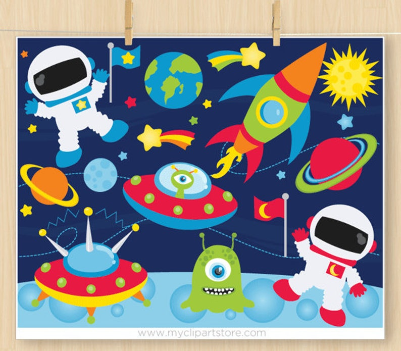 Space Clipart, Outer Space Adventures, Galaxy, Astronaut, Space Ship,  Aliens, Planets, Commercial Use, Vector clip art, SVG Files