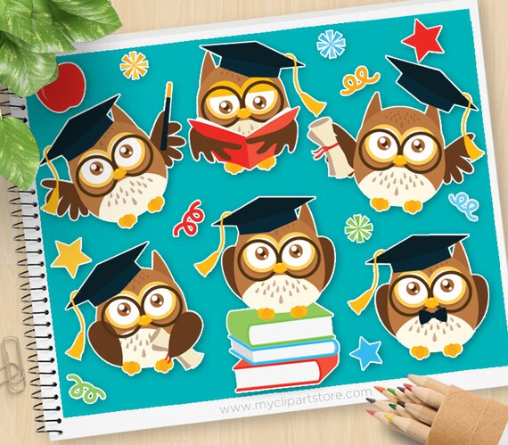 Back To School. Cartoon Baby Owls and Teacher by ONYXprj | GraphicRiver