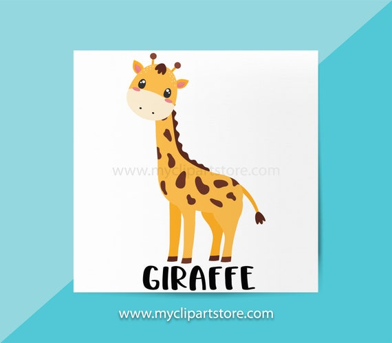 Giraffe Clipart Single Jungle Animals Wildlife African Etsy
