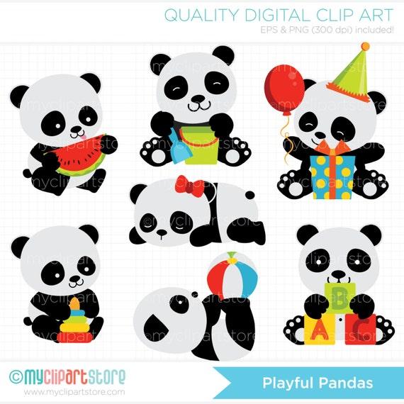 Clipart Playful Pandas Panda Clipart Baby Panda Clipart Etsy