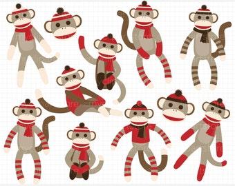 Clipart - Sock Monkey (Red) - Digital Clip Art (Instant Download)
