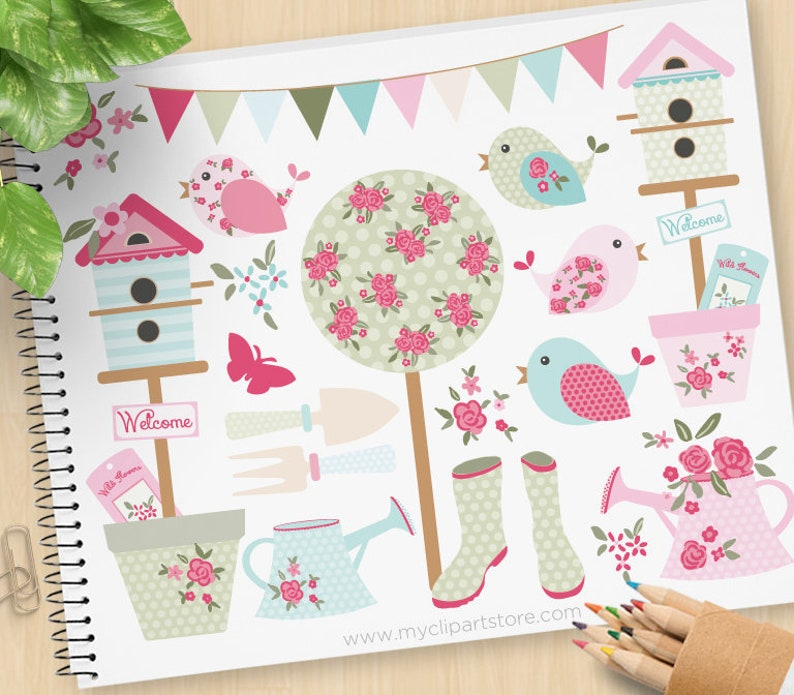 Shabby Chic Garden Clipart Mother's Day Birdhouse image 0
