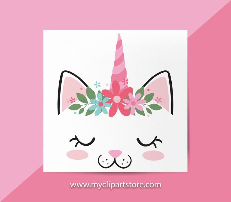 Kittycorn Clipart Single Cute Cat Face Kitten Kitty Cat image 0