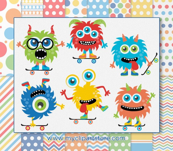 Monster Skaters Mini Bunlde Primary Colors Monster Birthday Etsy