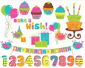 Clipart - Birthday Wish (Girl / Candy Colors) - Digital Clip Art (Instant Download)