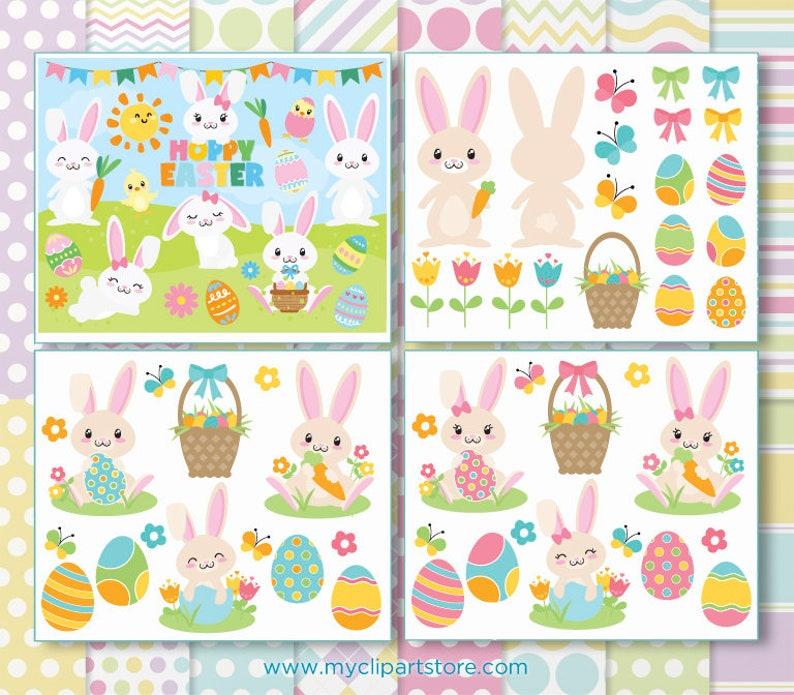 Easter Bunny Clipart Bundle Easter Eggs Cute Rabbit image 0