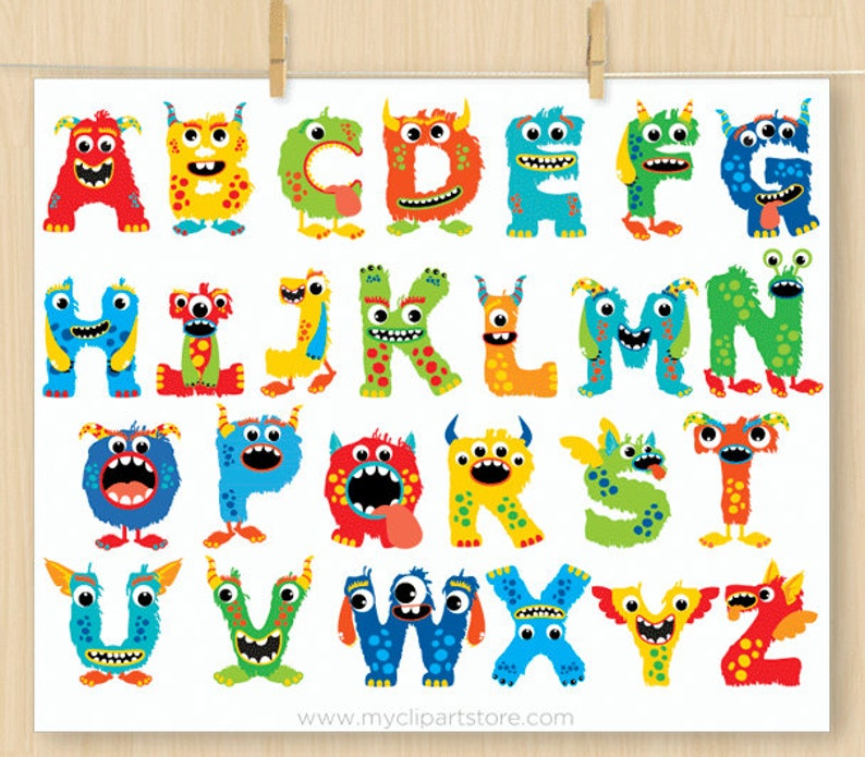 Cute Monster ABC Alphabet Clipart, Monograms, Birthday Party, Decorative  Letters, Primary Colors, Commercial Use, Vector Clipart, SVG Files