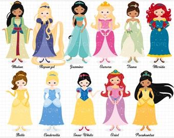 Clipart - Princess Clipart - Cinderella, Snow White - Digital Clip Art (Instant Download)
