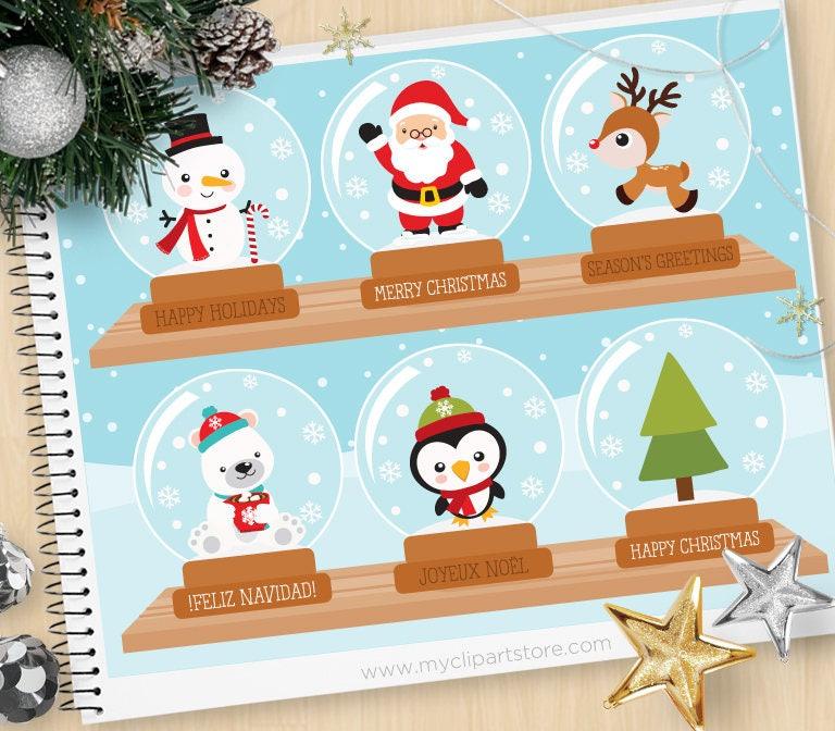 ClipArt Weihnachten-Schneekugel / Schneemann / Pinguin /   Etsy