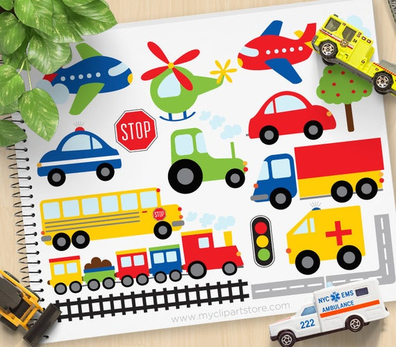 Trains, Planes and Trucks Clipart, Transportation, primary