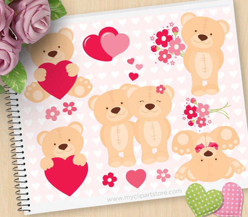 Valentine Teddybear Clipart Cute Teddy Valentine bears red image 0