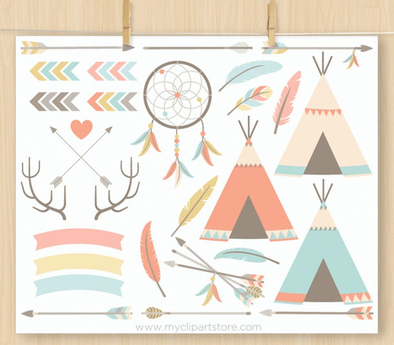 Bohemian Tribal Clipart Bundle (1), Native American Indian, boho, Wedding,  feathers, arrows, Commercial Use, Vector clip art, SVG Files