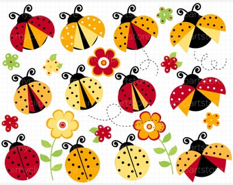 Clipart - Red & Yellow Ladybugs - Digital Clip Art (Instant Download)