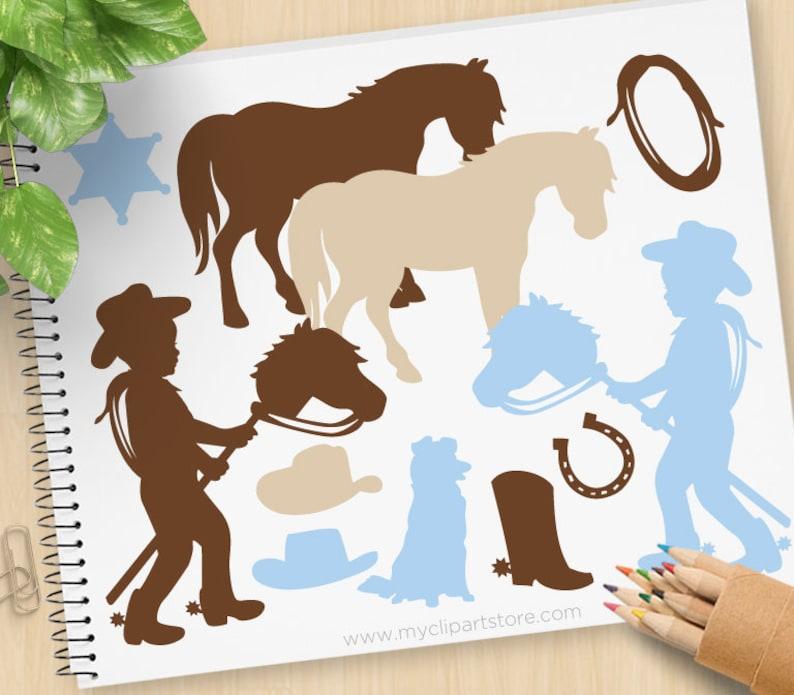 Little Cowboy Silhouette Clipart wild west western stick image 0