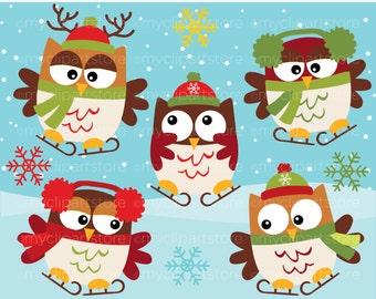 Clipart - Christmas Owls on skates / Winter - Digital Clip Art (Instant Download)