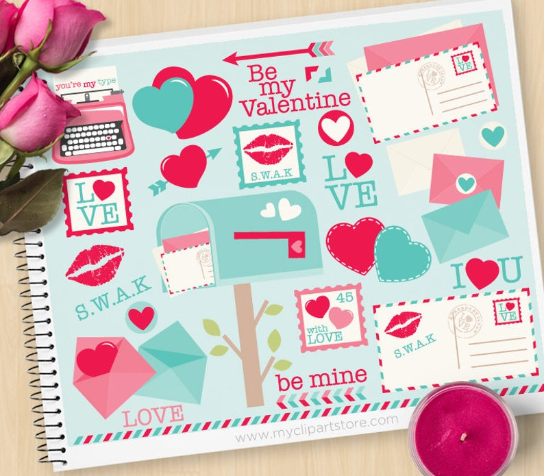 Valentines Day Clipart Love Letters Mail Box Envelopes image 0