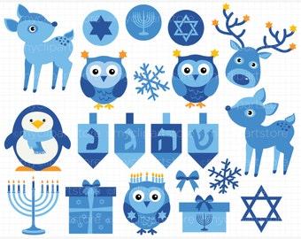 Clipart - Hanukkah Animal Stickers - Digital Clip Art (Instant Download)