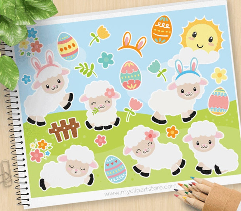Easter Sheep Clipart White Lamb Happy Easter eggs Palm image 0